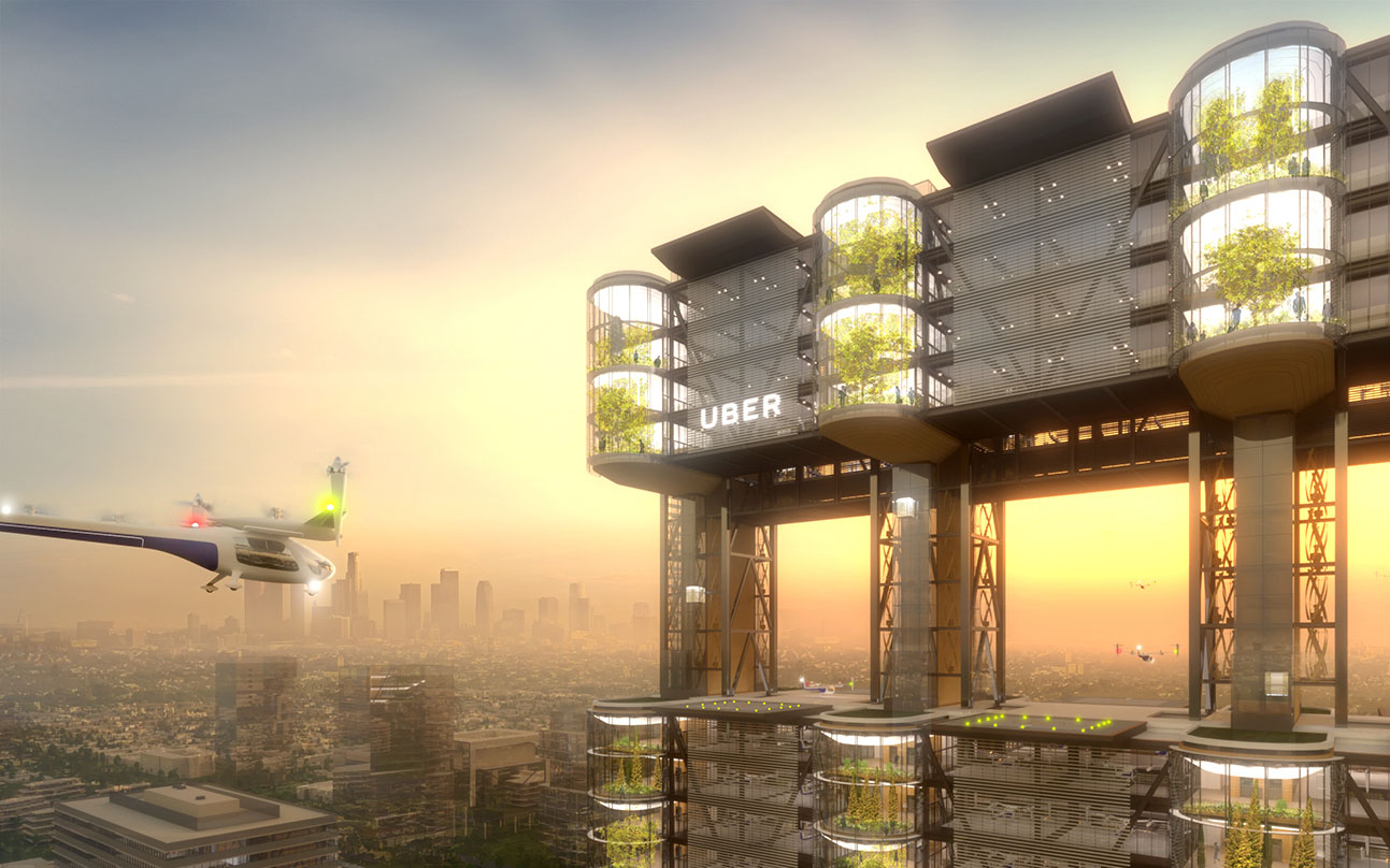 Uber's flying car arriving to land in Uber's Skytower - future of intra-urban transportation.
