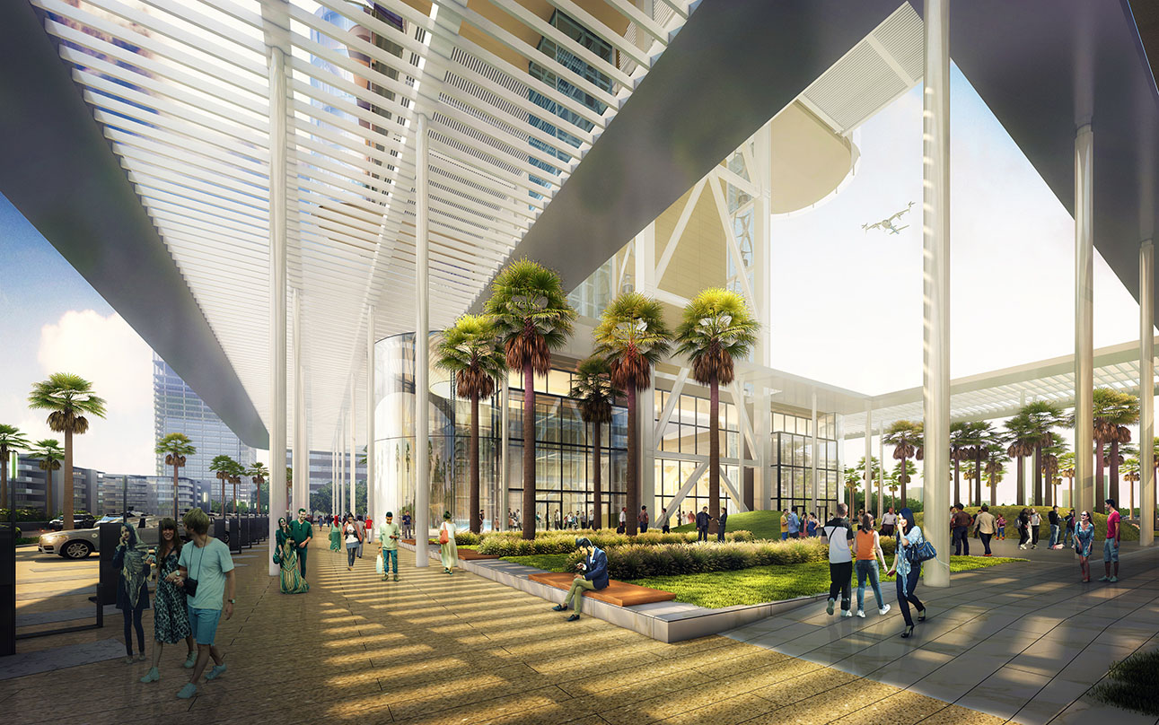 Architectural design perspective of people walking near the garden area - green courtyard  of the Uber's Mega Skytower
