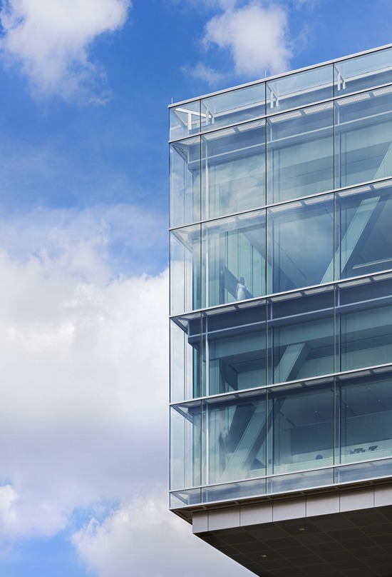 A closer look at the glass frame wall in theExxonMobil Energy Center, Houston, Texas.