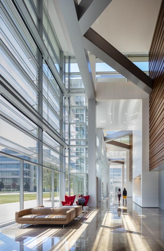 Sunlight entering the ExxonMobile Energy Center from the glass frame walls.