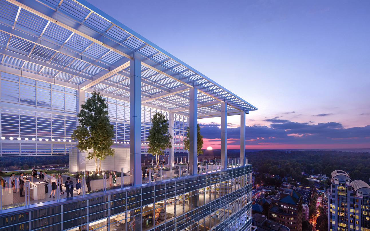 The upper level deck at the Avocet Tower with atrium design for adequate natural light.
