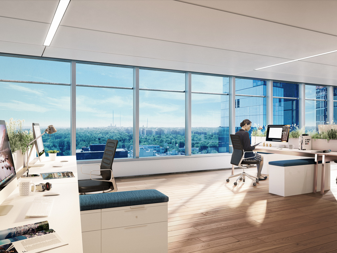 Interior design of the Avocet tower with glass frame walls.