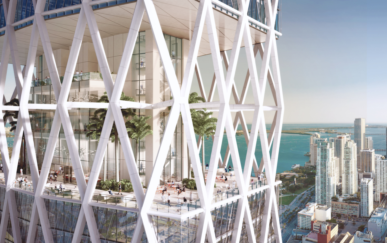 The exterior view of Miami Worldcenter's diagrid structure design proposal with adequate lighting and ideally placed greenery.