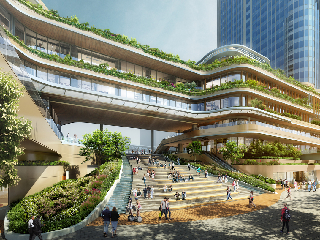 Staircase design that goes under the central atrium incorporated in the proposal for Global Gateway Shinagawa project.