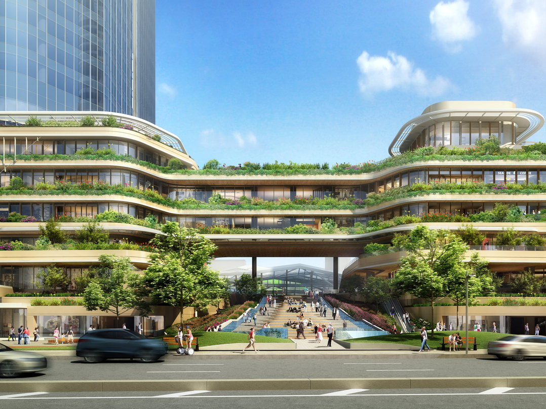 Central atrium connecting two decks with adequate greenery in the design proposal for Global Gateway Shinagawa project.