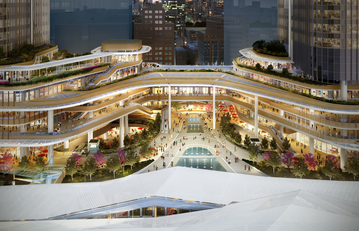 Birds-eye view of the lower deck design incorporated into the proposal for Global Gateway Shinagawa project.