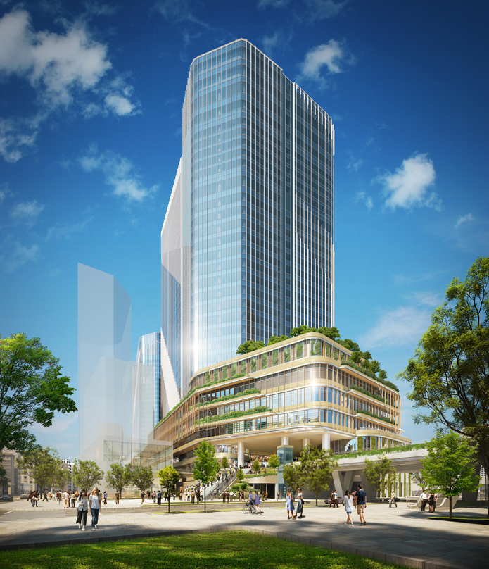 Pedestrian level view of the design proposal for Global Gateway Shinagawa project.