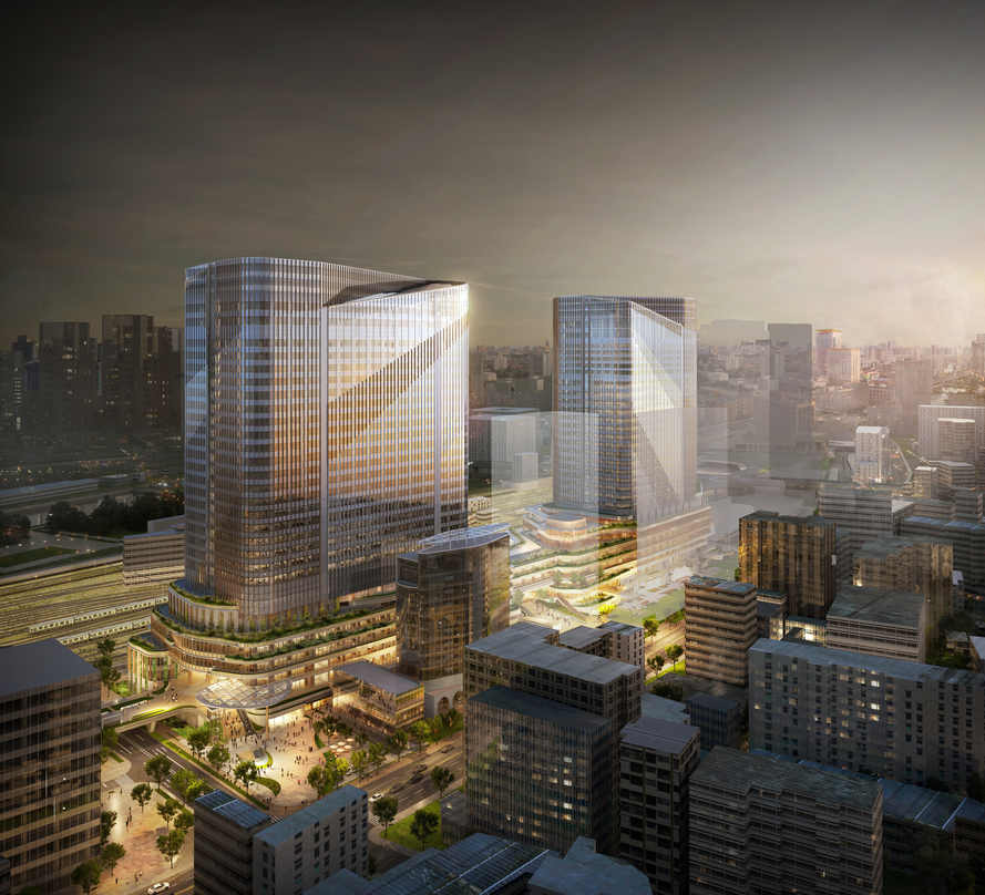 Exterior view of the design proposal for Global Gateway Shinagawa with adequate greenery.
