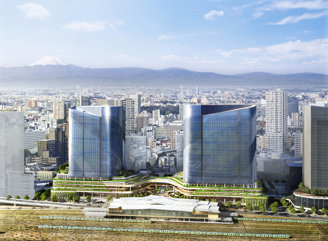 Design proposal for Global Gateway Shinagawa with adequate greenery on lower level decks.