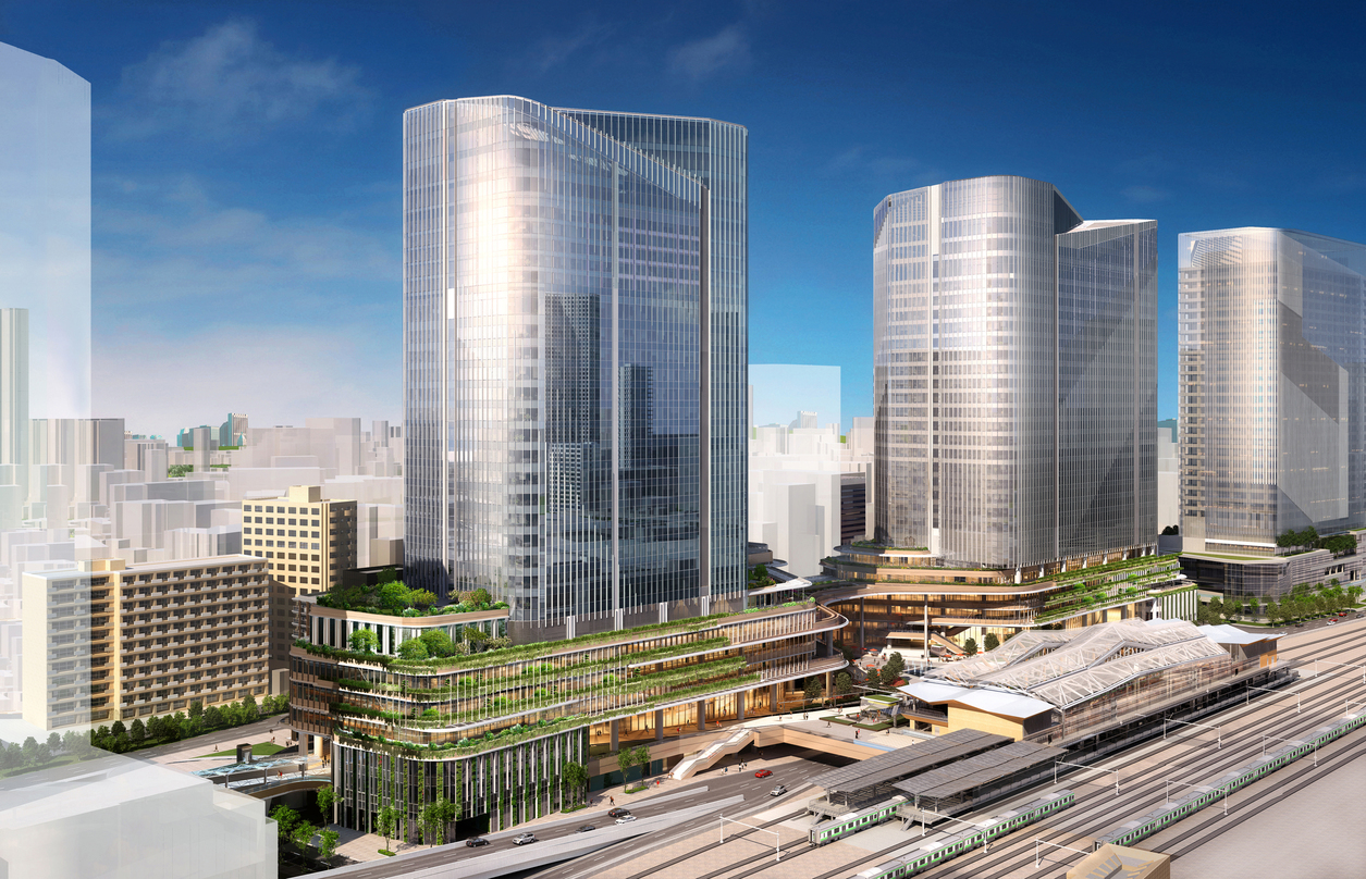 Design proposal for the Global Gateway Shinagawa, the redevelopment of the northern portion of Tokyo's Shinagawa Station.