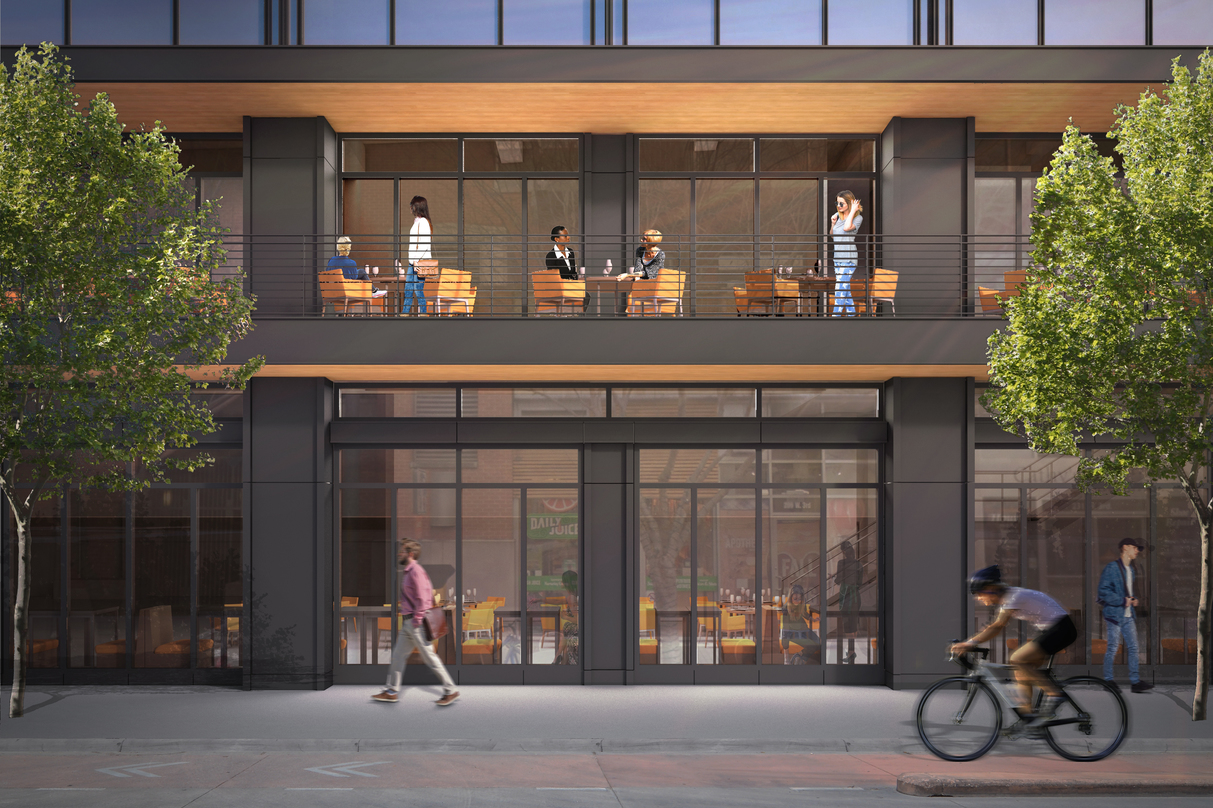 Pedestrian level view of the deck incorporated into the design proposal for 300 Colorado in downtown Austin.