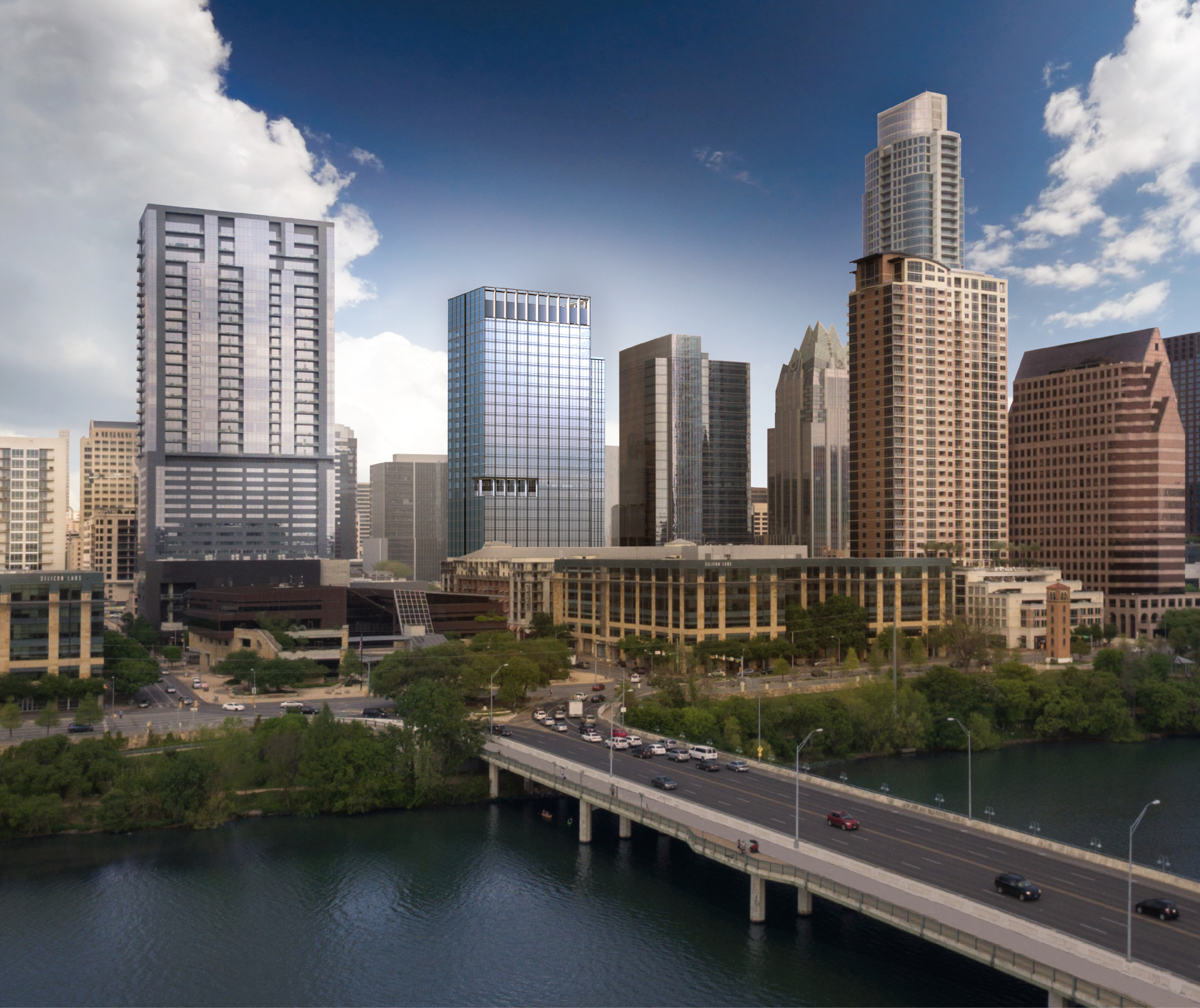 Exterior view of design proposal for 300 Colorado, premier properties in downtown Austin, situated close to a bridge.