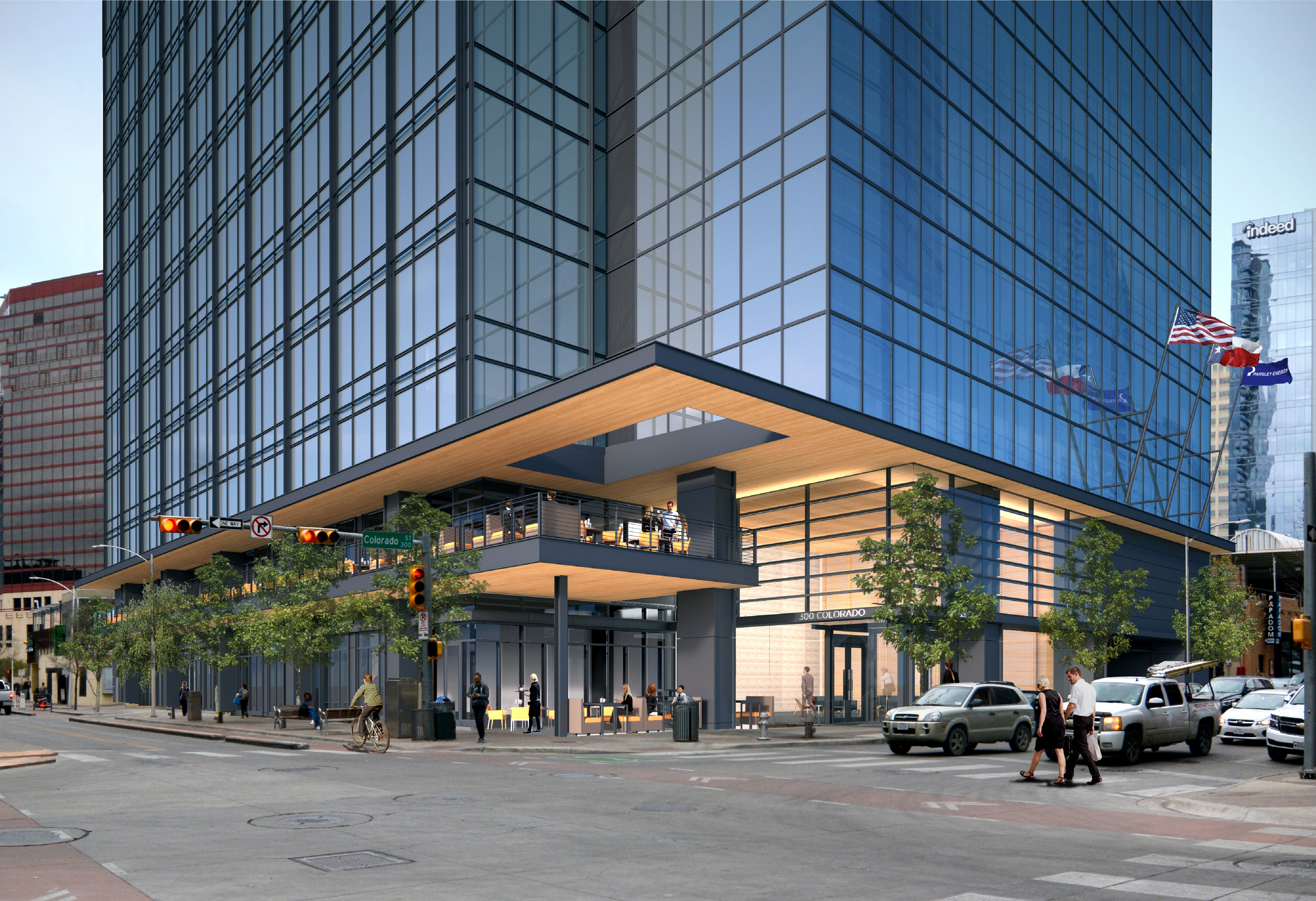 Pedestrian level view of the design proposal for 300 Colorado premier properties in downtown Austin.
