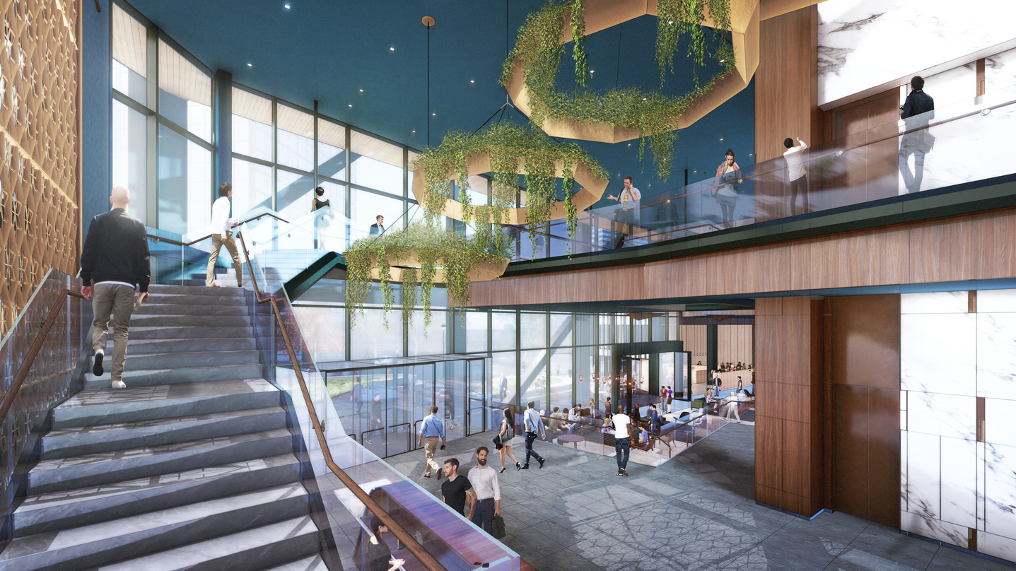 Visualization of the staircase and suspended roof designs inside our commercial office development design in Bellevue.