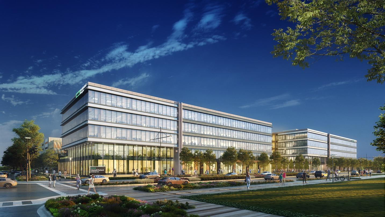 Exterior concept design of the Hewlett Packard Enterprise Corporate Campus, Houston, Texas.