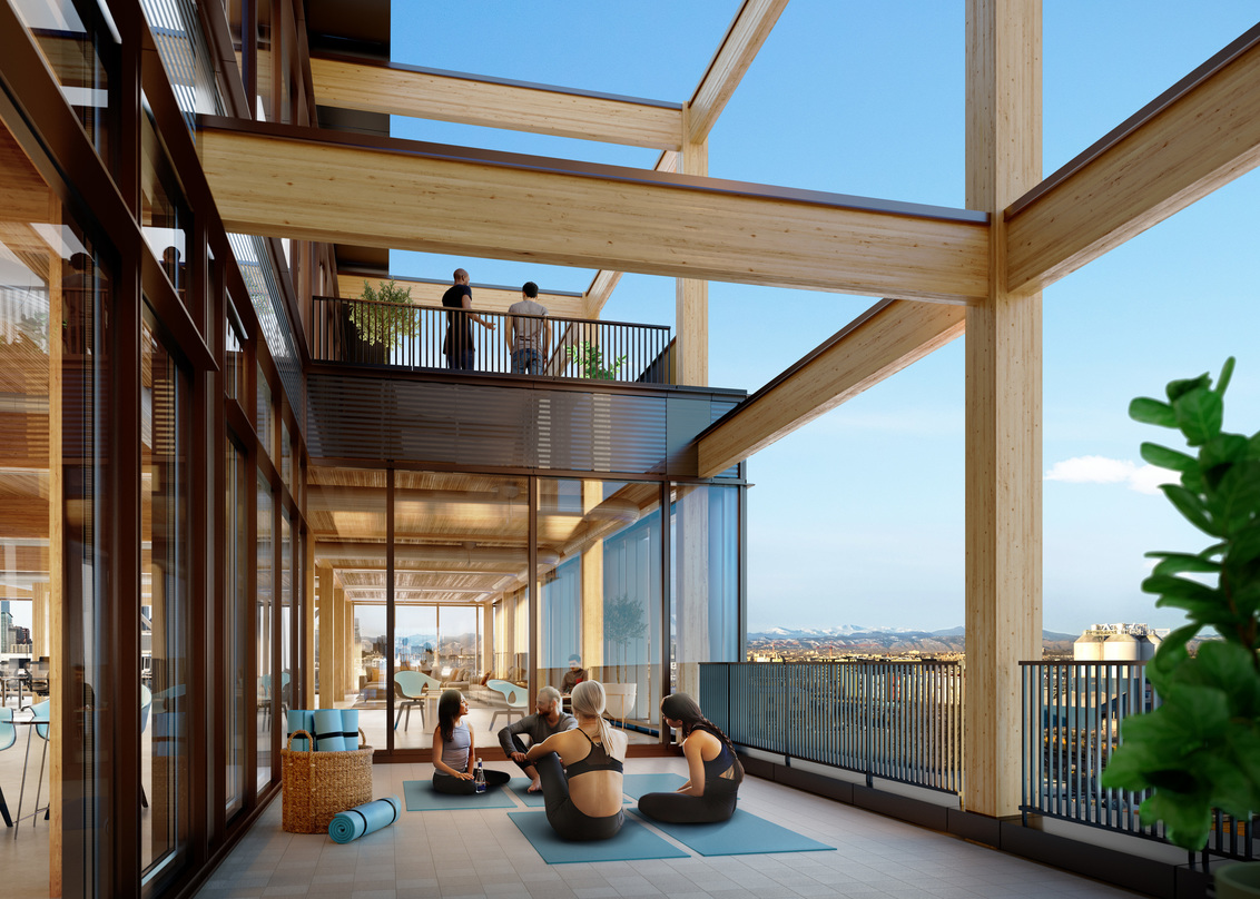 Deck design with timber pillars incorporated into the proposal for T3 RiNo project in Denver, Colorado.