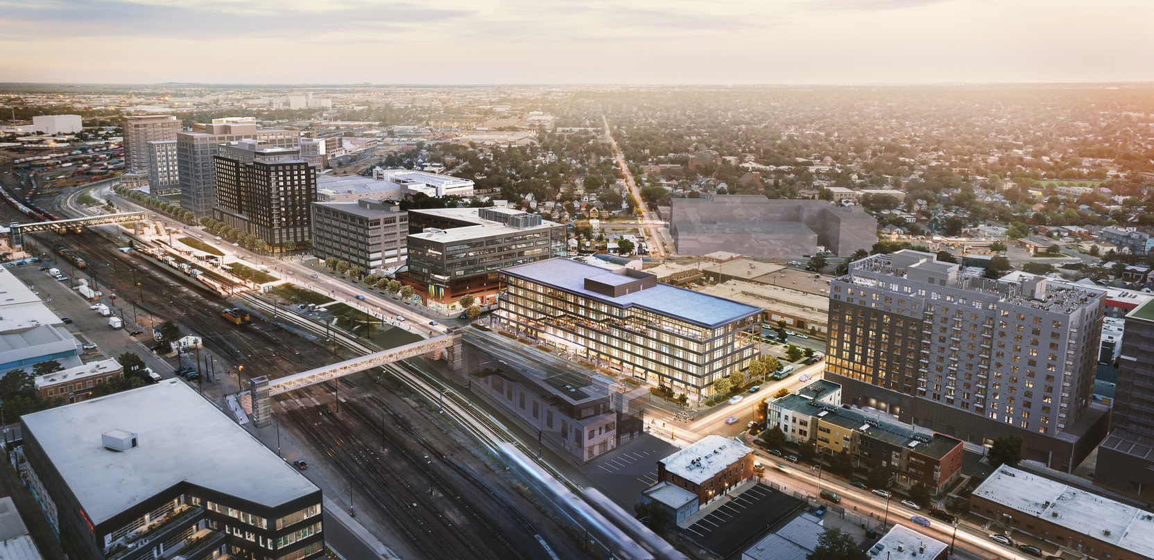 Aerial view of the design proposal for T3 RiNo project, six-story heavy timber office building located in Denver, Colorado.