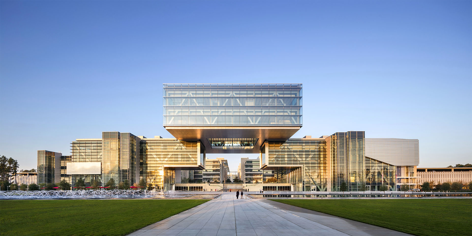 The two multi-story design of the ExxonMobil Energy Center in Houston, Texas