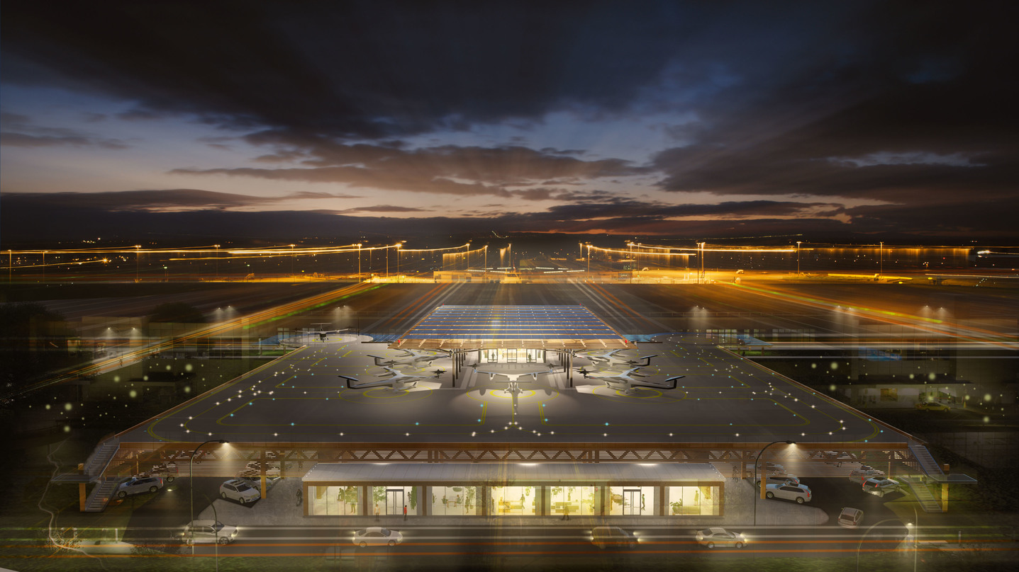 Picturesque look at the skyport design proposal for the Skyloft program by Uber.