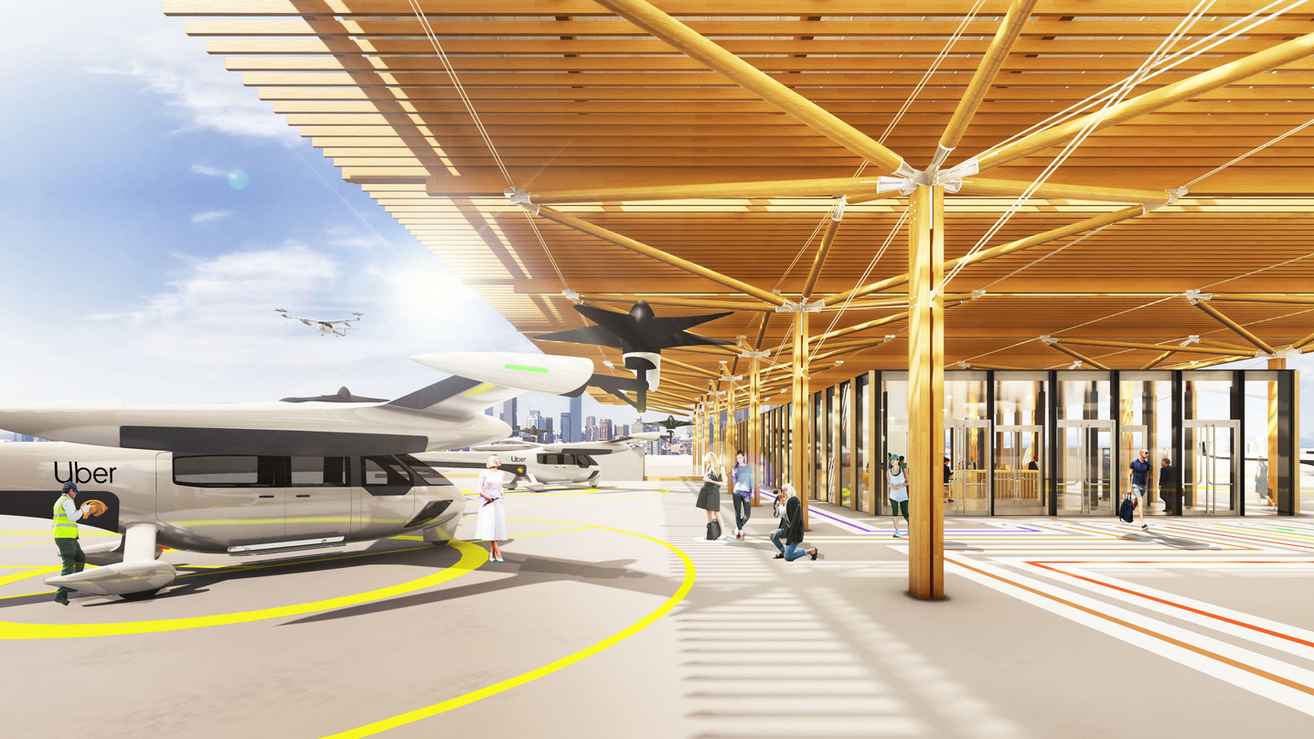 Visualization of the landing pad on the roof of Skyloft for a futuristic air transit service by Uber