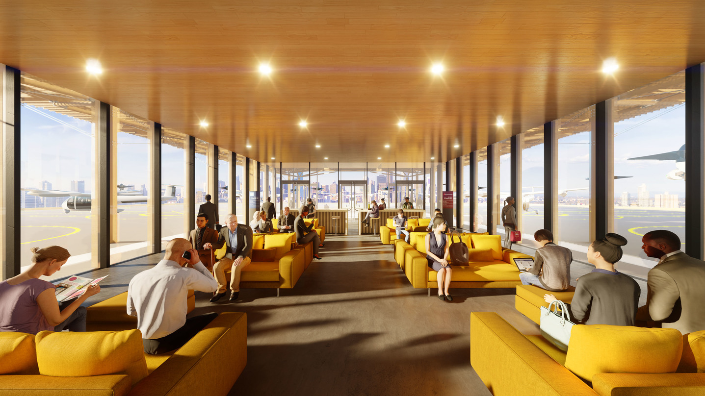 Interior designs of the Skyport Lounge with glass frame walls incorporated into the Skyloft program by Uber.