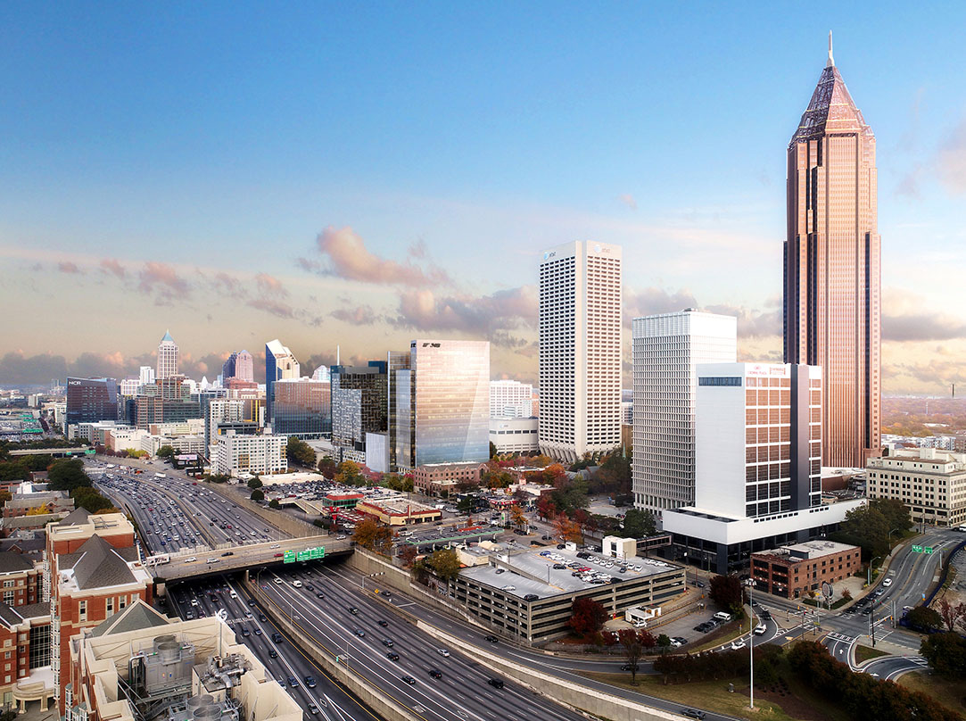 Skyline view of new high performance corporate headquarters designed as a next generation campus at Norfolk Southern's, Technology Square in Midtown Atlanta