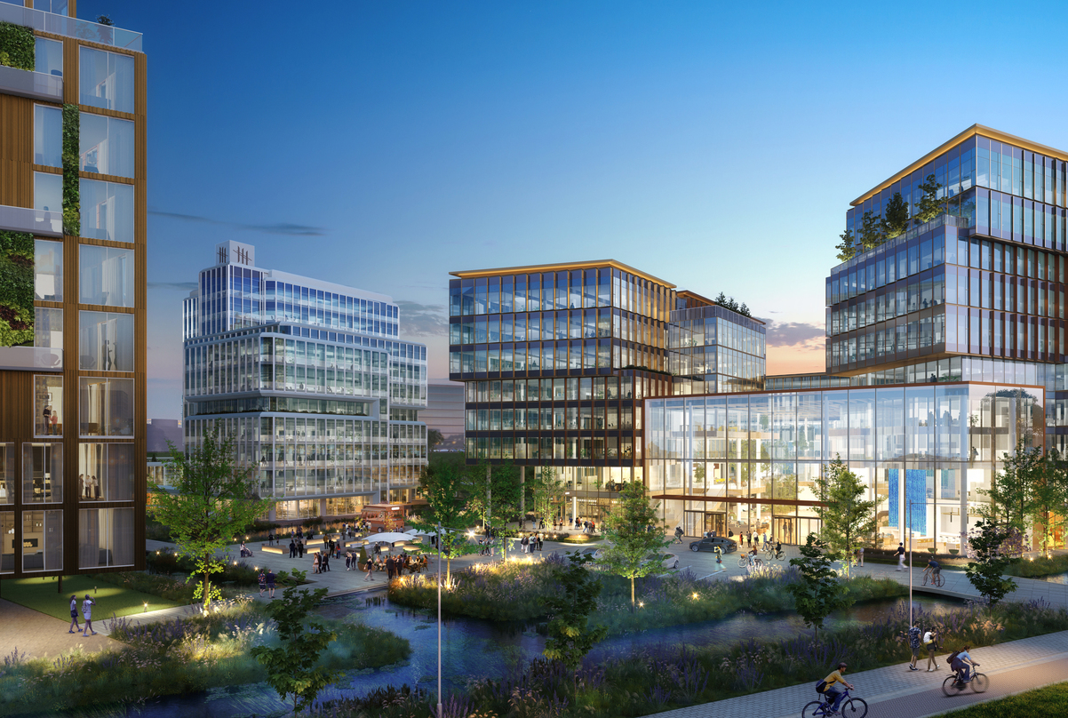 Exterior of our design for the next generation workplace in Amsterdam, Netherlands that incorporates adequate greenery.