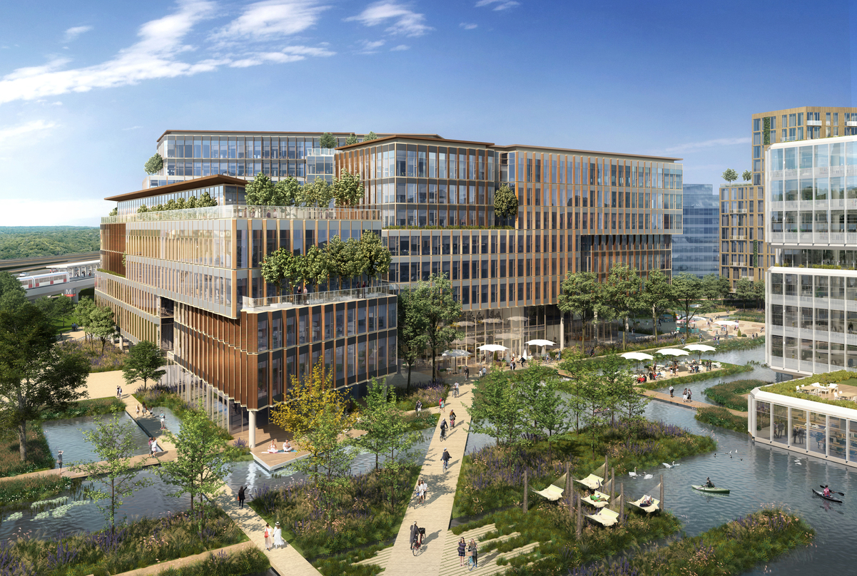 Exterior view of the next generation workplace in Amsterdam, Netherland that incorporates greenery and waterways aesthetically.
