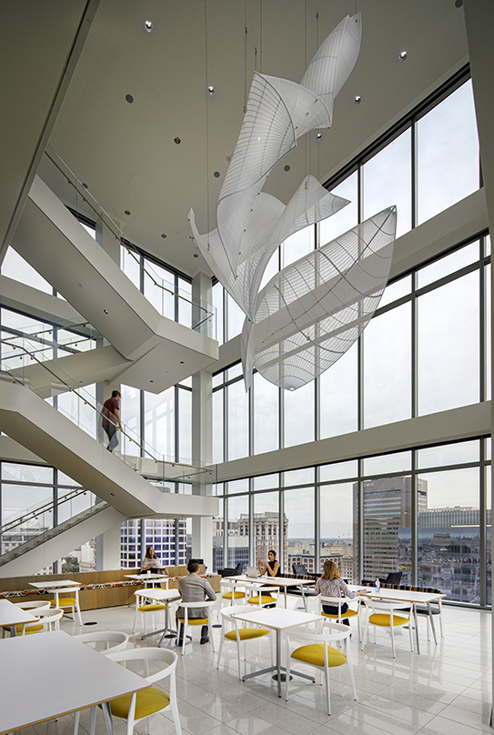 Centrally suspended leaf-like design at the 20-storey 600 Canal Place located in Richmond, Virginia.