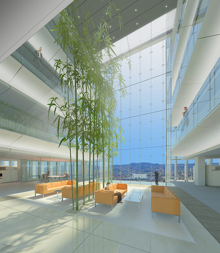 Visualization of the interiors in the design proposal for BankMed Headquarters II in Beirut, Lebanon.