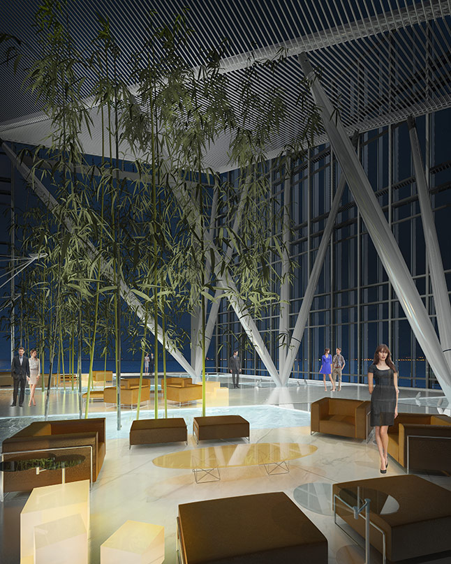 The furniture and glass frame wall designs from our proposal for the BankMed Headquarters II in Beirut, Lebanon.