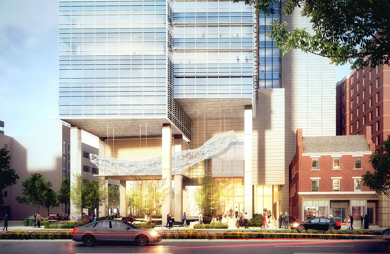 Entrance of the Avocet Tower, a transit-oriented development project design.