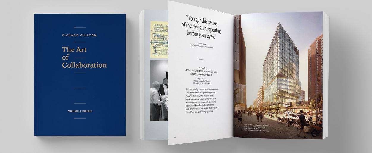 Views of Pickard Chilton's new monograph, The Art of Collaboration