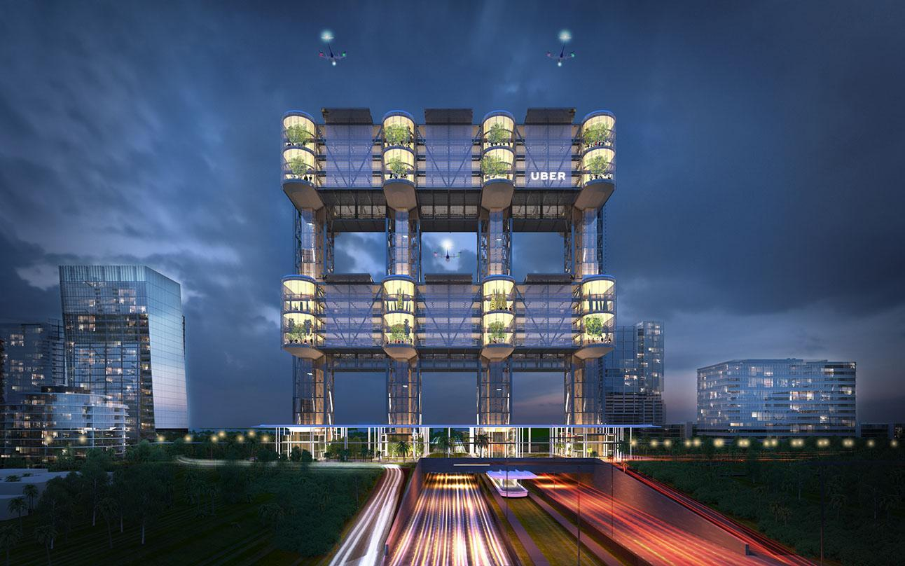 Architectural design for  night view of the entire Uber's mega skyport with lights.