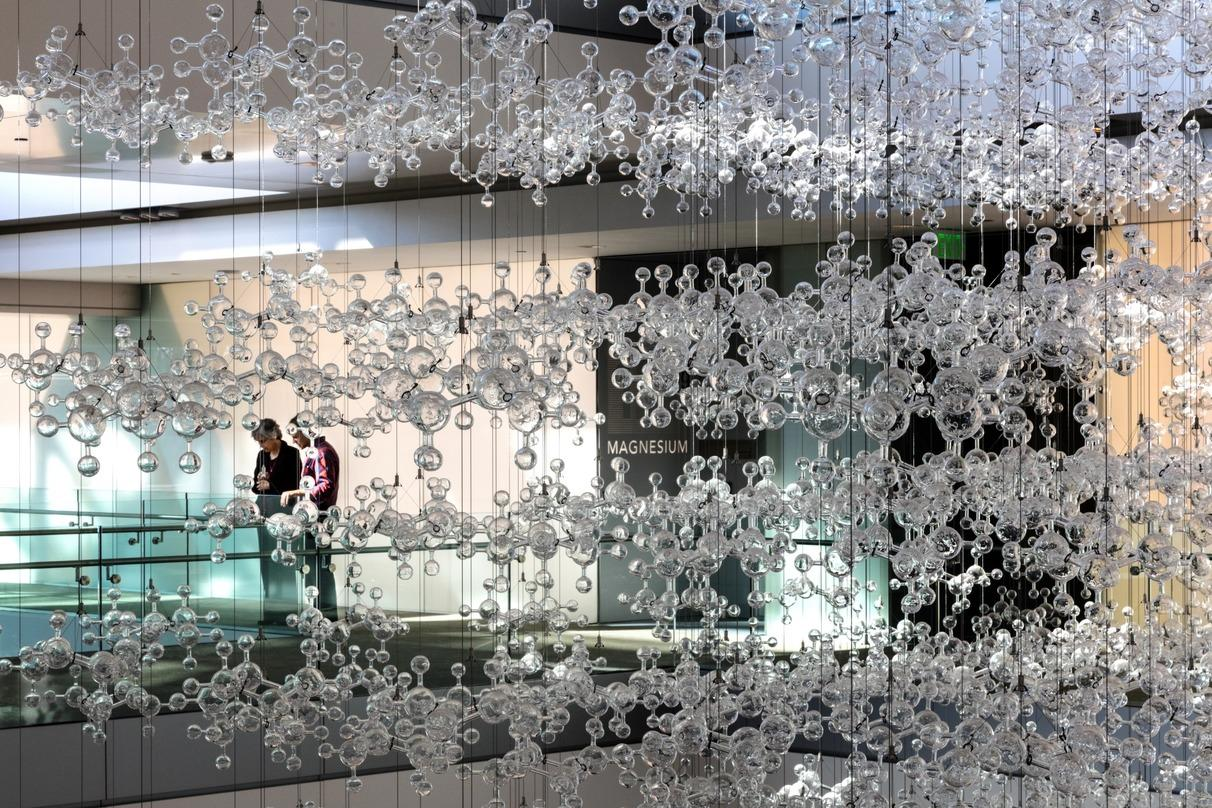 Molecular design crystals suspended from the roof of ExxonMobil Energy Center in Houston, Texas.