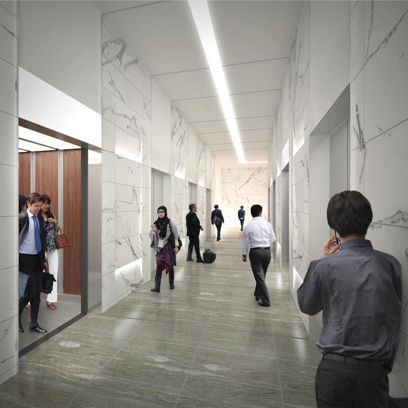 People walking in the hallway of OLC Integrated Development Project located in Kuala Lumpur, Malaysia.