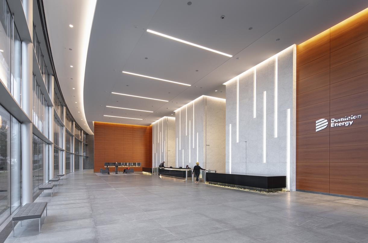 Welcoming lobby space at 600 Canal Place in Richmond, Virginia.