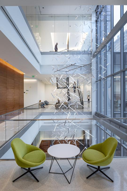 Centrally suspended abstract design at the 20-storey 600 Canal Place located in Richmond, Virginia.