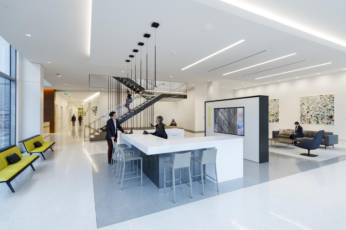 Suspended staircase design inside the 20-storey 600 Canal Place located in Richmond, Virginia.