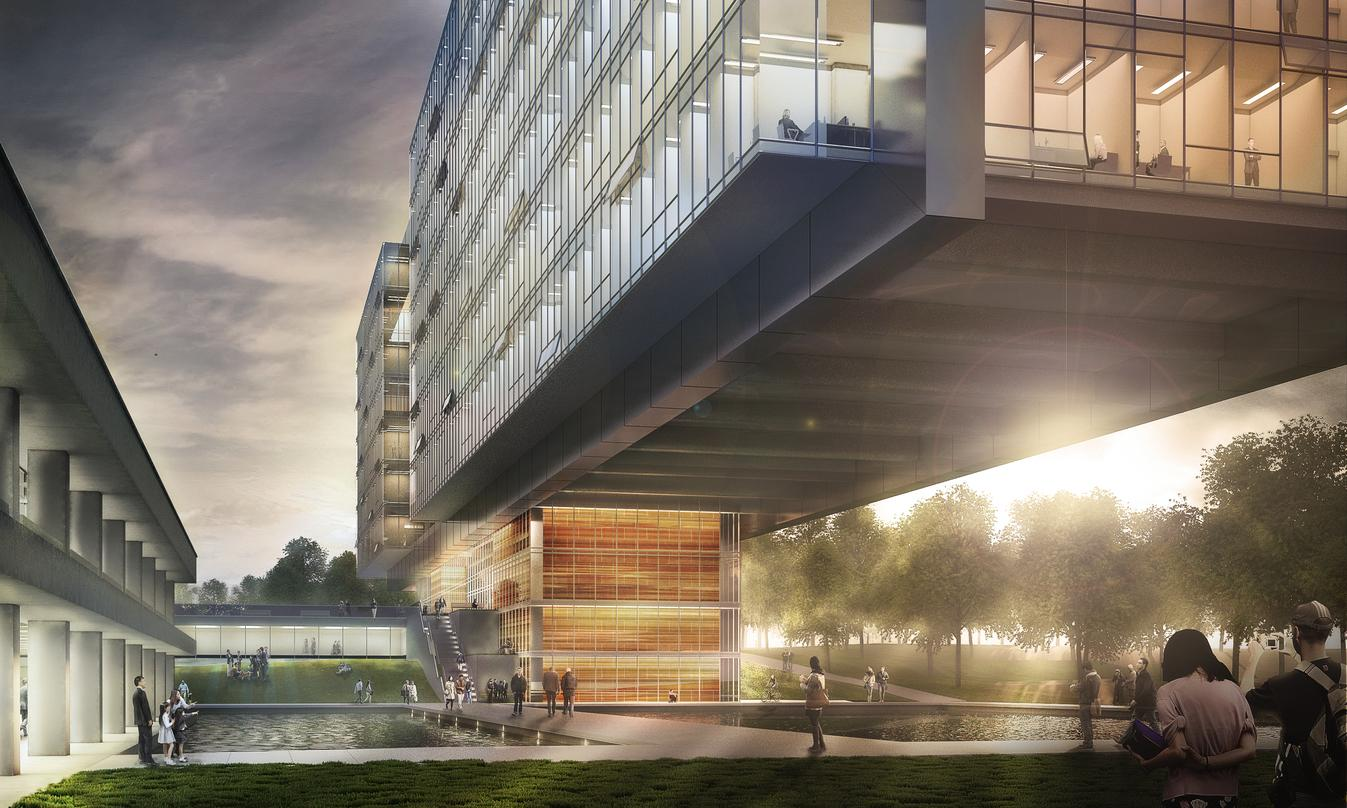 A view of the World Health Center's Extension building, Geneva  from the pool side and the walking path to the building.