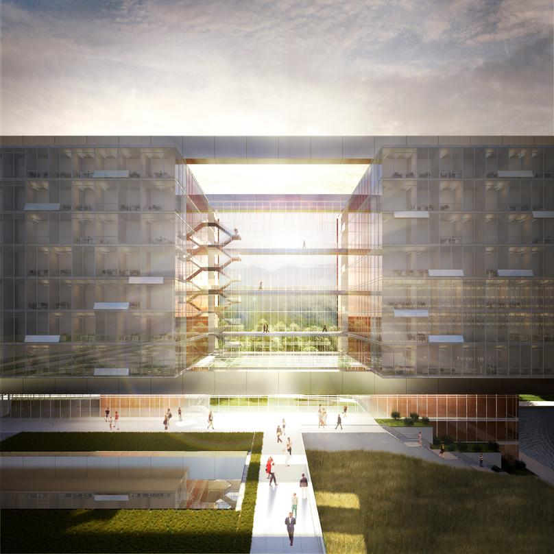 Pedestrian level view of our design proposal for the World Health Organization (WHO) Headquarters Building Extension.