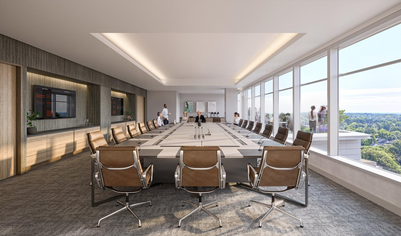Interior designs of the conference room with an extended deck and glass frame walls of the Avocet Tower.