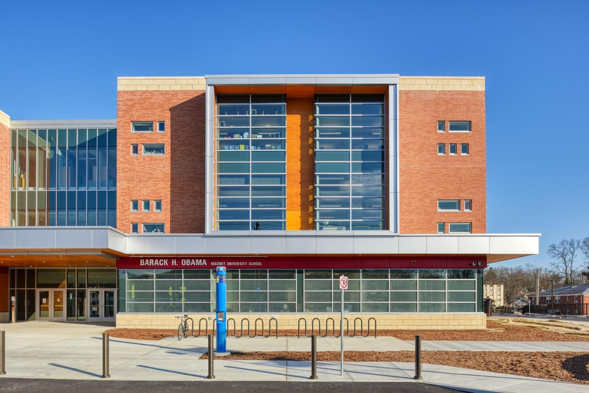 Exterior view of the Barack H. Obama Magnet University school, a three-storey brick-clad building in New Haven, Connecticut.