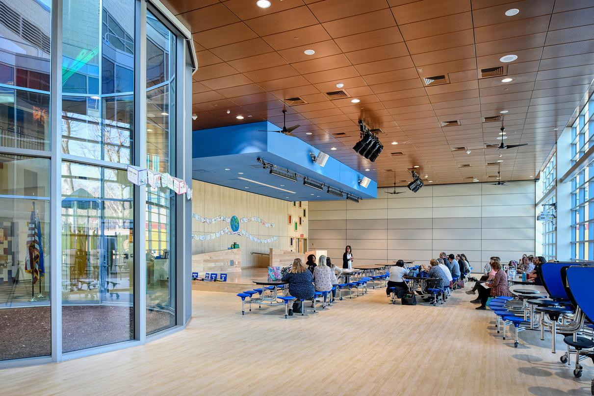 Interior design of the Barack H. Obama Magnet University school in New Haven, Connecticut.