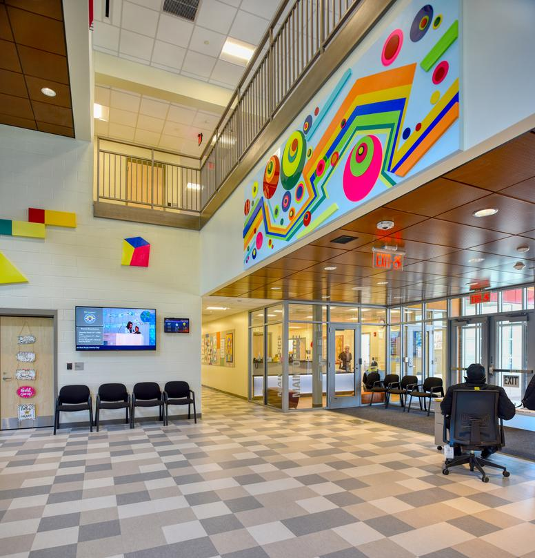 Colorfully designed interiors of the Barack H. Obama Magnet University school in New Haven, Connecticut.