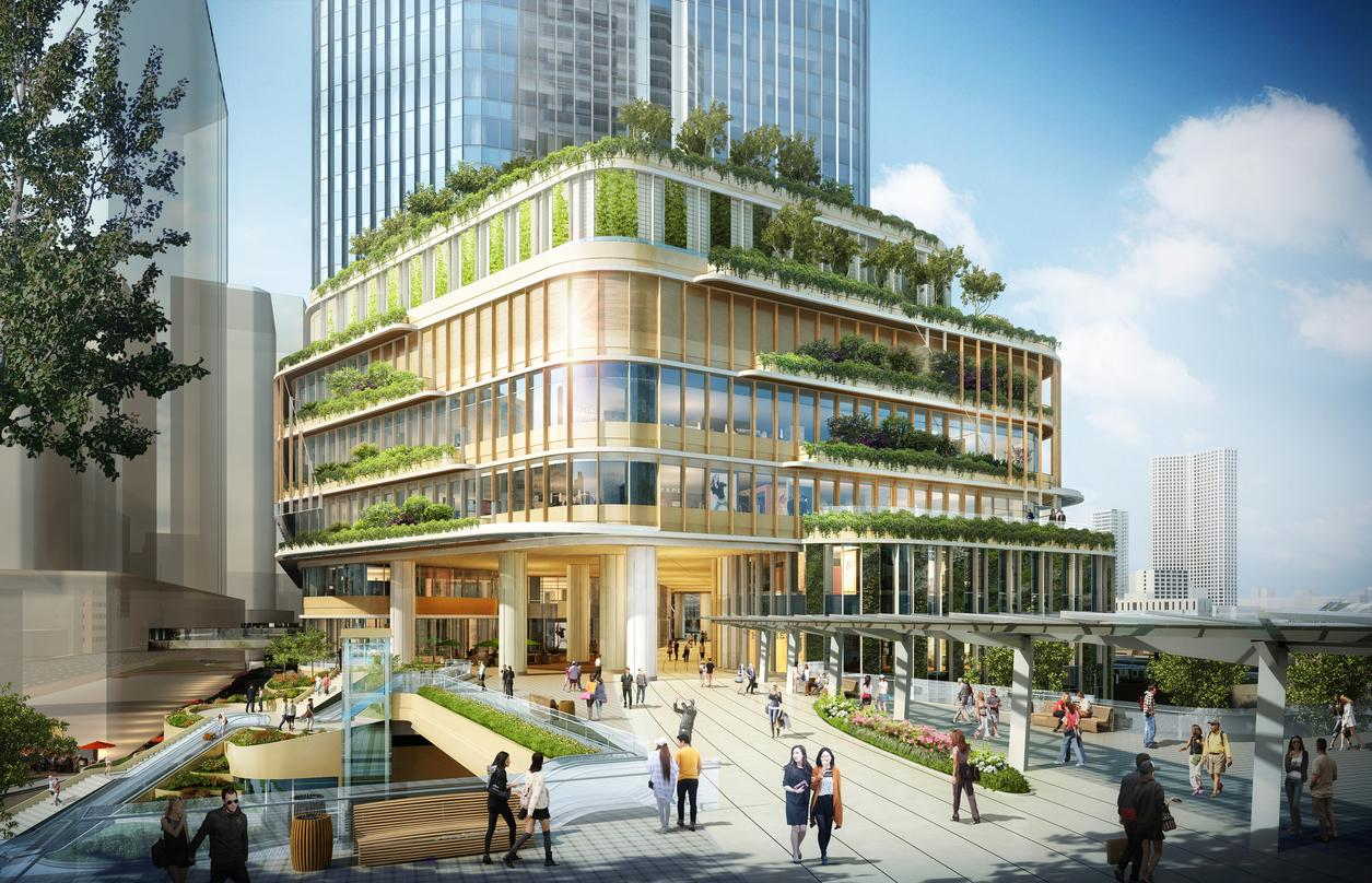 Closer look at the greenery incorporated into the lower deck levels of design proposal for Global Gateway Shinagawa project.