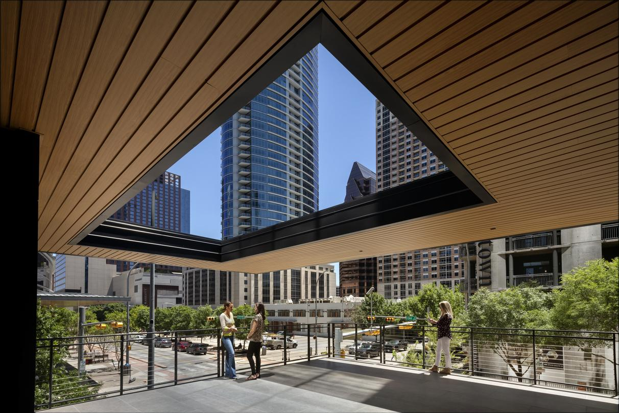 View of the deck incorporated into the design proposal for 300 Colorado in downtown Austin.