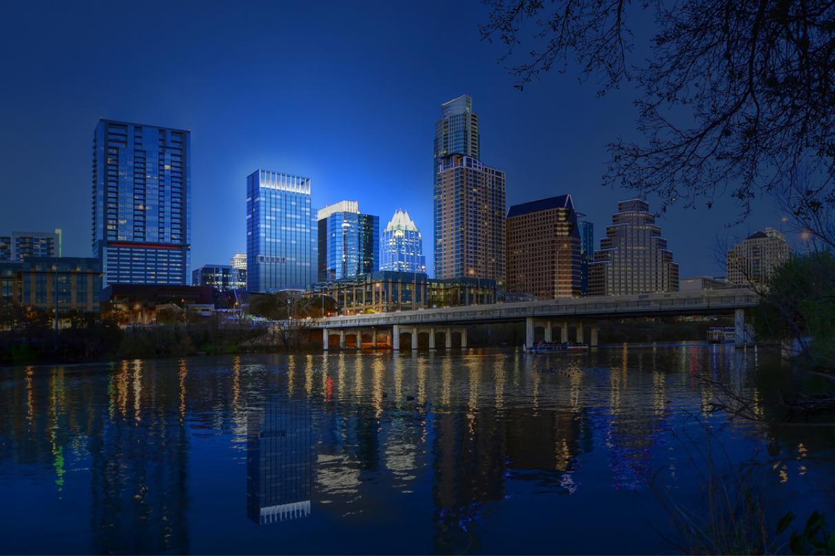 Reflection of the proposed design for 300 Colorado, premier properties in downtown Austin.