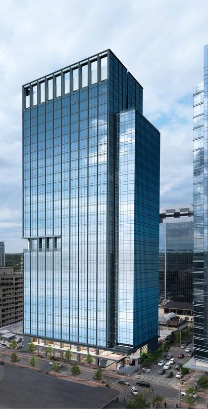 Design proposal for developing premier properties in downtown Austin, 300 Colorado with glass frame walls