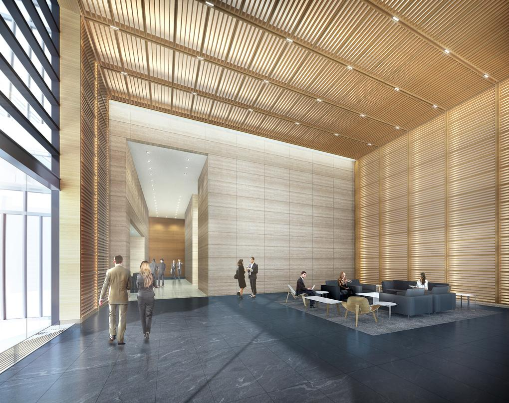 Aesthetically placed wooden roof designs in the proposal for 300 Colorado in downtown Austin.